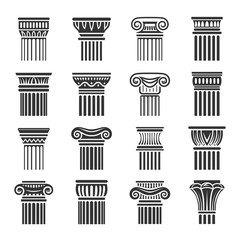 Antique columns in Greek and Roman style