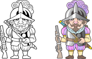 cartoon Spanish warrior, funny illustration, coloring book