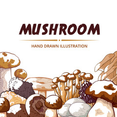 Mushroom icon frame hand drawn vector background