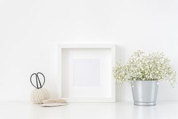 White square frame mockup in interior. Frame mock up background for poster
