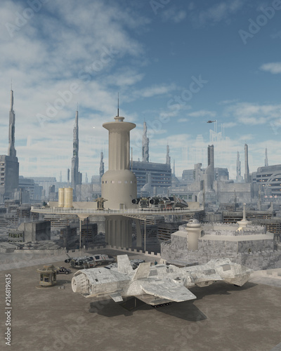 """Space Ship at a Future City Spaceport - science fiction illustration"" Stock photo and royalty-free images on Fotolia.com - Pic 216819635"