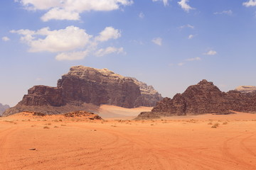 Red dunes in the Wadi Rum desert, Jordan