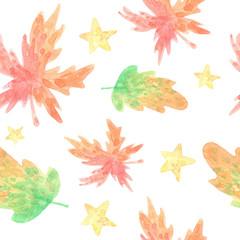 cartoon watercolor seamless pattern. Autumn leaves, oak, maple on white background