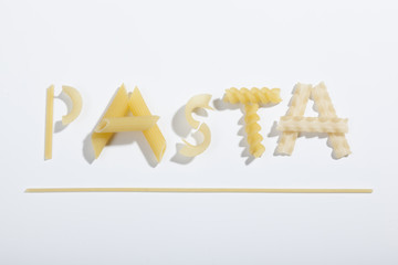 inscription pasta with shadow on a white background