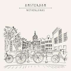 Amsterdam, Holland, Netherlands - vintage hand drawn postcard