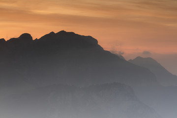 Silhouette of Monte Resegone at sunrise seen from Monte Coltignone, Lecco, Lombardy, Italy