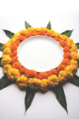 Marigold Flower rangoli for Diwali or Pongal festival