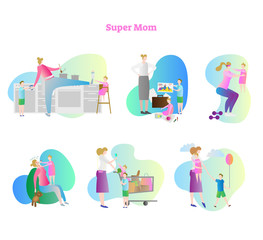 Super mom vector illustration collection set. Busy mom with kids and children. Household activities like cooking, painting, exercising, sleeping, shopping and walking.