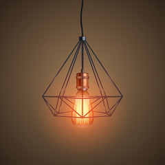Decorative edison light bulb in Retro design wire lampshade. Vintage and antique style with copper. Original Vintage design. Vector Illustration