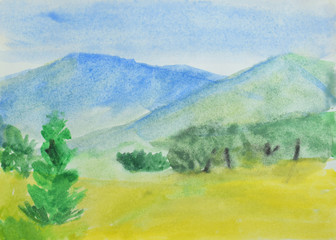 Children's drawing: mountains, summer forest and blue sky. Drawing in watercolor