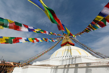 Swayambhunath is an ancient religious architecture atop a hill in the Kathmandu Valley, west of Kathmandu city.
