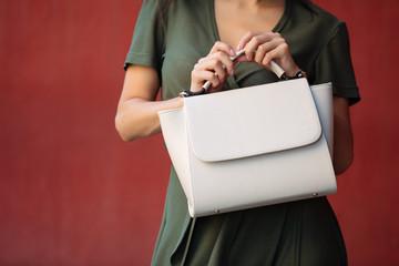 Female hands holding bag closeup