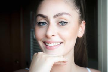 Beautiful young natural italian brunette