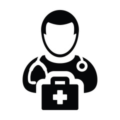 Doctor icon vector male person profile avatar with Stethoscope and first aid kit bag for Medical Consultation in Glyph Pictogram illustration