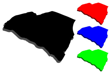 3D map of South Carolina (United States of America, The Palmetto State) - black, red, blue and green - vector illustration