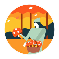 Woman picking mushrooms in Autumn forest. Autumn scenery and activity. flat icon design. illustration vector