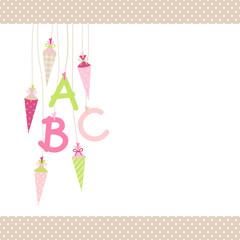 ABC & Schultüten Pink/Grün/Beige Punkte