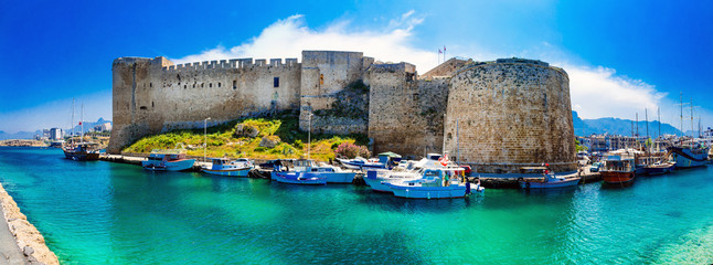 Printed kitchen splashbacks Cyprus Landmarks of Cyprus - medieval fortress in Kyrenia, turkish part of northen Cyprus