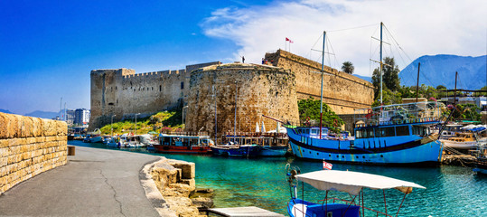 Landmarks of Cyprus - medieval fortress in Kyrenia, turkish part of northen Cyprus
