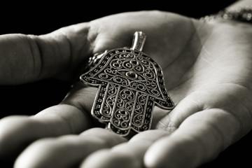 old hamsa amulet or hand of Fatima