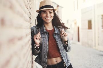 Beautiful young girl traveling portrait