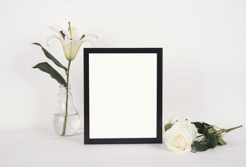 Blank Photo Frame Decoration on Wooden for Design Mockup Template.