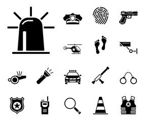 Polizei - Iconset (in Schwarz)