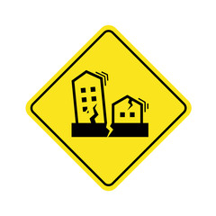 Earthquake Symbol concept with Houses and buildings crack and vibrate on yellow Warning banner Sign vector design