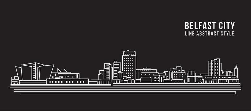 Cityscape Building Line art Vector Illustration design - Belfast city