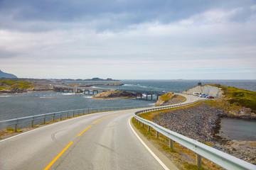 Bridge Atlanterhavsvegen with an amazing view over the norwegian mountains, Atlantic road in Norway