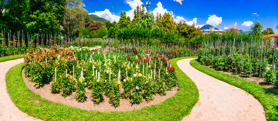 Villa Taranto with beautiful gardens.Famous places of Lago Maggiore, North of Italy