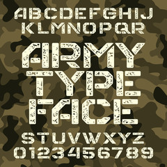 Army stencil alphabet font. Grunge type letters and numbers on military camo background. Vector typeface for your design.