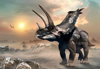 Wall Mural - Agujaceratops scene 3D illustration