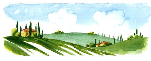 Watercolor illustration of small village in Europe. Alpine landscape