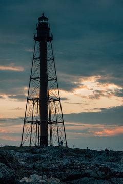 Lighthouse at sunset, in Marblehead, Massachusetts
