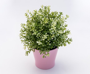 White - green  plastic decorative flower in a pink plastic pot is on a white background