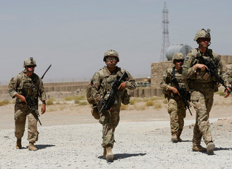 U.S. troops patrol at an Afghan National Army (ANA) Base in Logar province