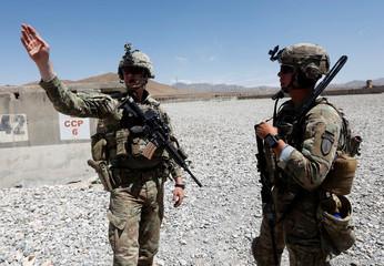 U.S. troops patrol at an Afghan National Army (ANA) base in Logar province, Afghanistan