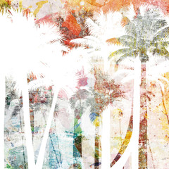 Wall Murals Candy pink tropical palm grunge background