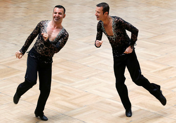 Same sex dance duo performs during the Dancesport competition in the Gay Games at the Japy Gymnasium in Paris