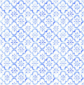Seamless watercolor Moroccan tile - indigo blue flower of life pattern