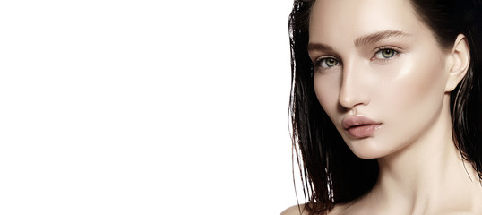 Beautiful Face of young Woman. Skincare, Wellness, Spa. Clean soft Skin, Fresh look. Natural daily makeup. Copyspace