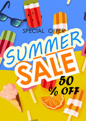 Summer sale vector poster with 50% off discount text and summer elements in colorful backgrounds. Vector illustration.