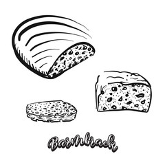 Hand drawn sketch of Barmbrack bread