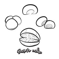 Hand drawn sketch of Barm cake bread