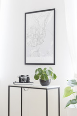 A city map poster on a white wall, plant and camera on a box frame, marble top table in a stylish living room interior for a traveler