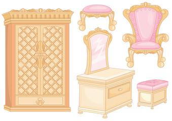 Set of furniture in bedroom
