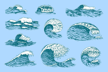 Atlantic tidal waves. Vintage old engraved hand drawn labels. Marine and nautical or sea, ocean background for banner or poster. set of Isolated vector illustration.