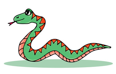 Cute colorful snake isolated on the white background