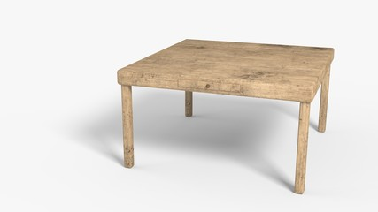 Old wooden table background work, 3d rendering